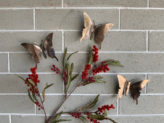 Steel Patina Butterflies - Set of 3 - Butterflies - Wall Art - Metal Butterflies - Home Decor