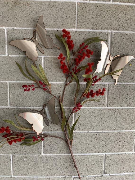 Brushed Stainless Butterflies - Set of 3 - Butterflies - Wall Art - Metal Butterflies - Home Decor