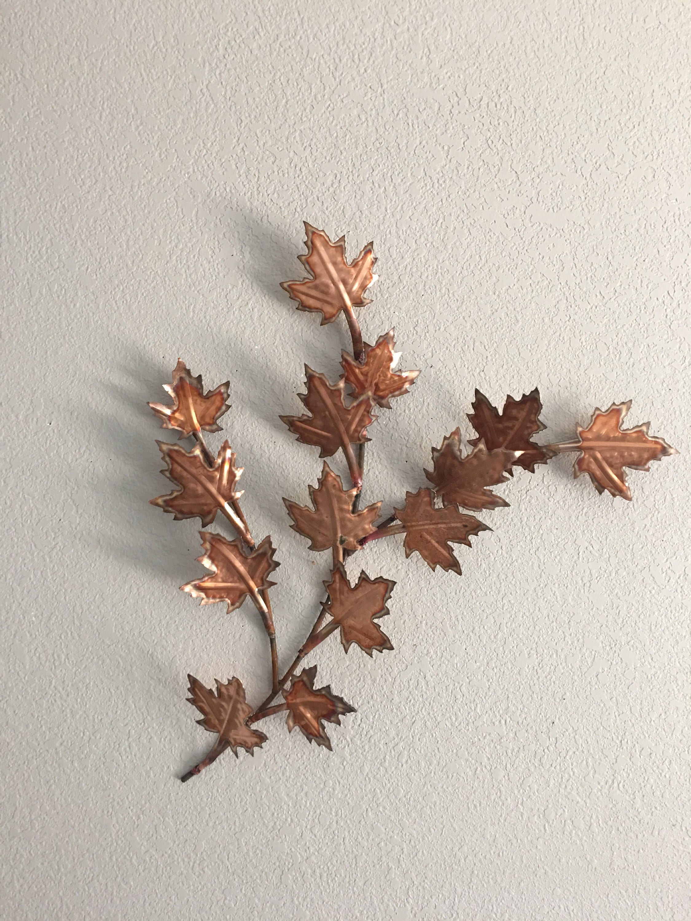 Copper Leaves Branch Of Maple Leaves Home Decor Metal