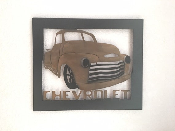 Metal Truck , 1947 thru 1953 Chevy, Metal Wall Art - Home Decor - Old Truck