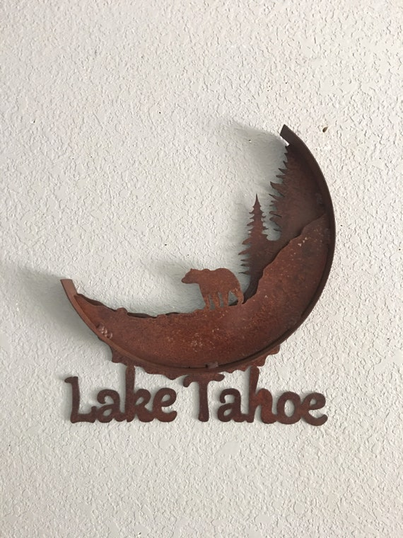 Lake Tahoe Metal Art - Lake Tahoe - Home Decor - Metal Art -  Wall Art - Cabin Sign