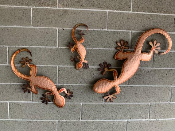 Copper Gecko  Wall  Art - Lizard  - Metal Lizard  - Metal Art - Lizard Metal Wall Hanging   - Home Decor