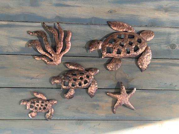 5 pc set   -  Sea Turtles  - Set of 5 sea turtles theme   Sea Turtles  - Home decor - wall hanging