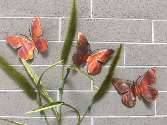 "4"" Copper Butterflies - Set of 3 - Butterflies - Wall Art - Metal Butterflies - Home Decor"