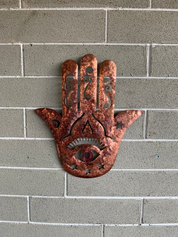 Copper Hamsa  Wall Hanging - Hamsa Art  - Home Decor