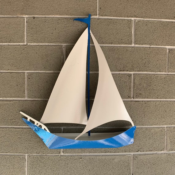 Metal Sailboat Wall Art——-  Hanging Metal Boat