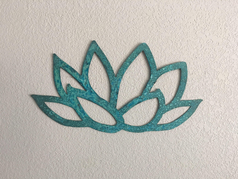 Flower Copper Flower Metal Flower Wall Art Blue Lotus Flower