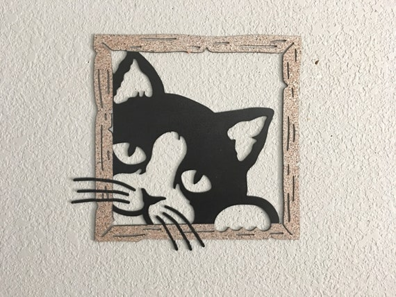 Kitty Wall Art - Metal Cat Sign - Kitty in Window  -  Metal Cat Wall Art  - Home Decor
