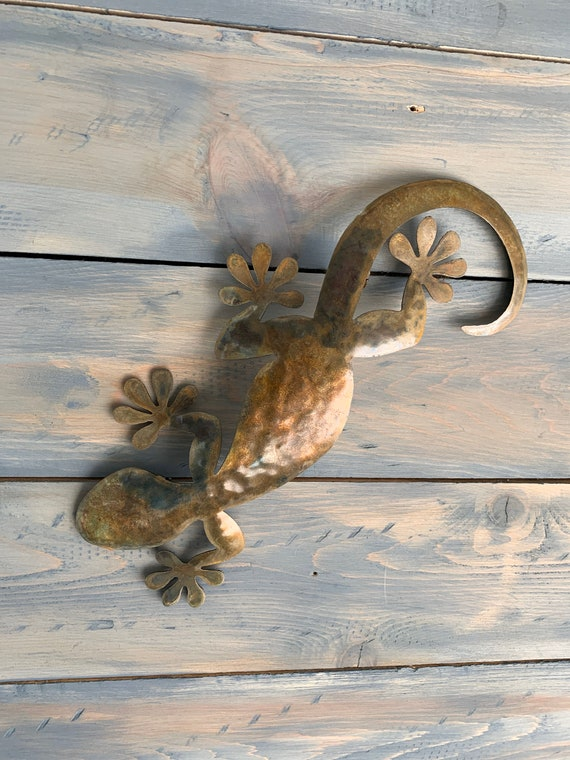 Gecko  - Lizard  - Metal Lizard  - Metal Art - Lizard Metal Wall Hanging   - Home Decor  Stainless Steel