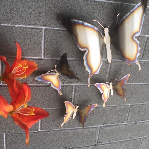 Stainless Butterflies - Metal Wall Art - Metal Butterflies - Home Decor - Metal Art- Stainless Steel Butterflies - Heat torched - 4 pcs set