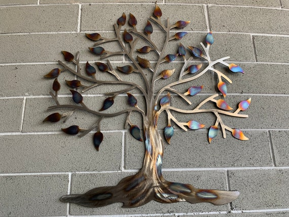 Stainless Steel Tree  -  Colorful Heat Torched Tree -Beautiful Tree - Wall Hanging  - Home Decor
