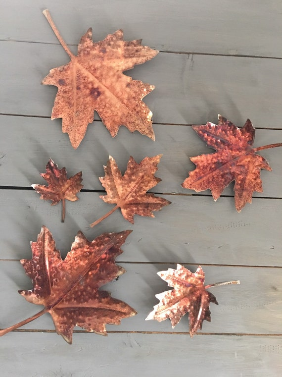 "14"" Patina copper Maple leaf  - Wall Art  -   Metal Leaves   Home Decor  - metal Wall Art"