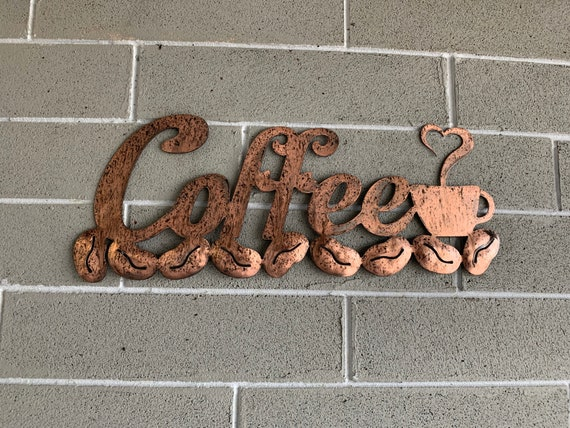 Metal Coffee sign. Kitchen art   Metal Art. Hanging metal art