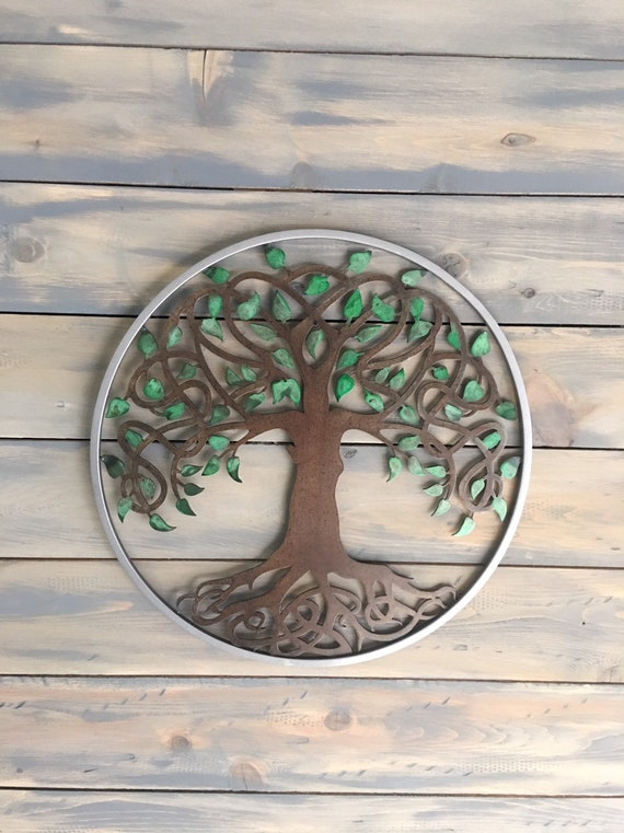 Tree of life   ---    Framed in 3/8 rolled square bar   Home Decor  Metal Wall Art