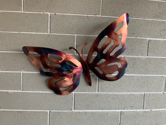 Butterfly  -Copper patina Colorful Butterfly - Metal Butterfly - Heat Colored Butterfly