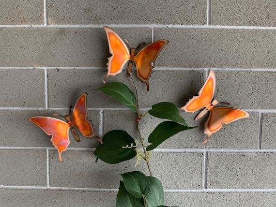 Copper Butterflies - Set of 3 - Butterflies - Wall Art -Heat Torched - Butterflies - Home Decor