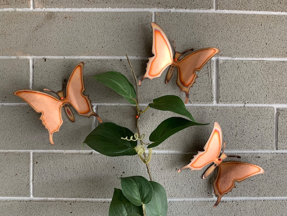 Free shipping -Copper Butterflies - Set of 3 - Butterflies - Wall Art - Metal Butterflies - Home Decor