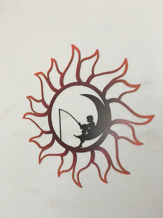 Sun and Moon - Fishing on the moon -Home Decor  - Wall Art Hanging