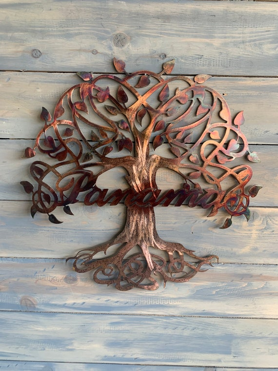 Metal Family Tree with name  - Family Tree.  Hanging metal wall art