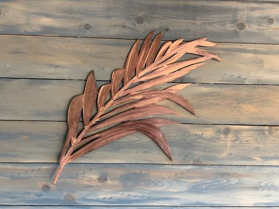 Copper Patina Palm Leaf  -  Metal Plam  - Metal Wall Art  - Home Decor -