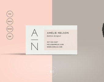 Business card design printable business card template etsy printable business card premade business card template modern business card feminine card calling card instant download wajeb Images