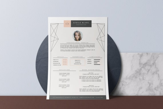 Resume Template & Cover Letter Template for MS Word + Pages . Creative  Resume Design . Professional CV Template . Instant Download • Étoile