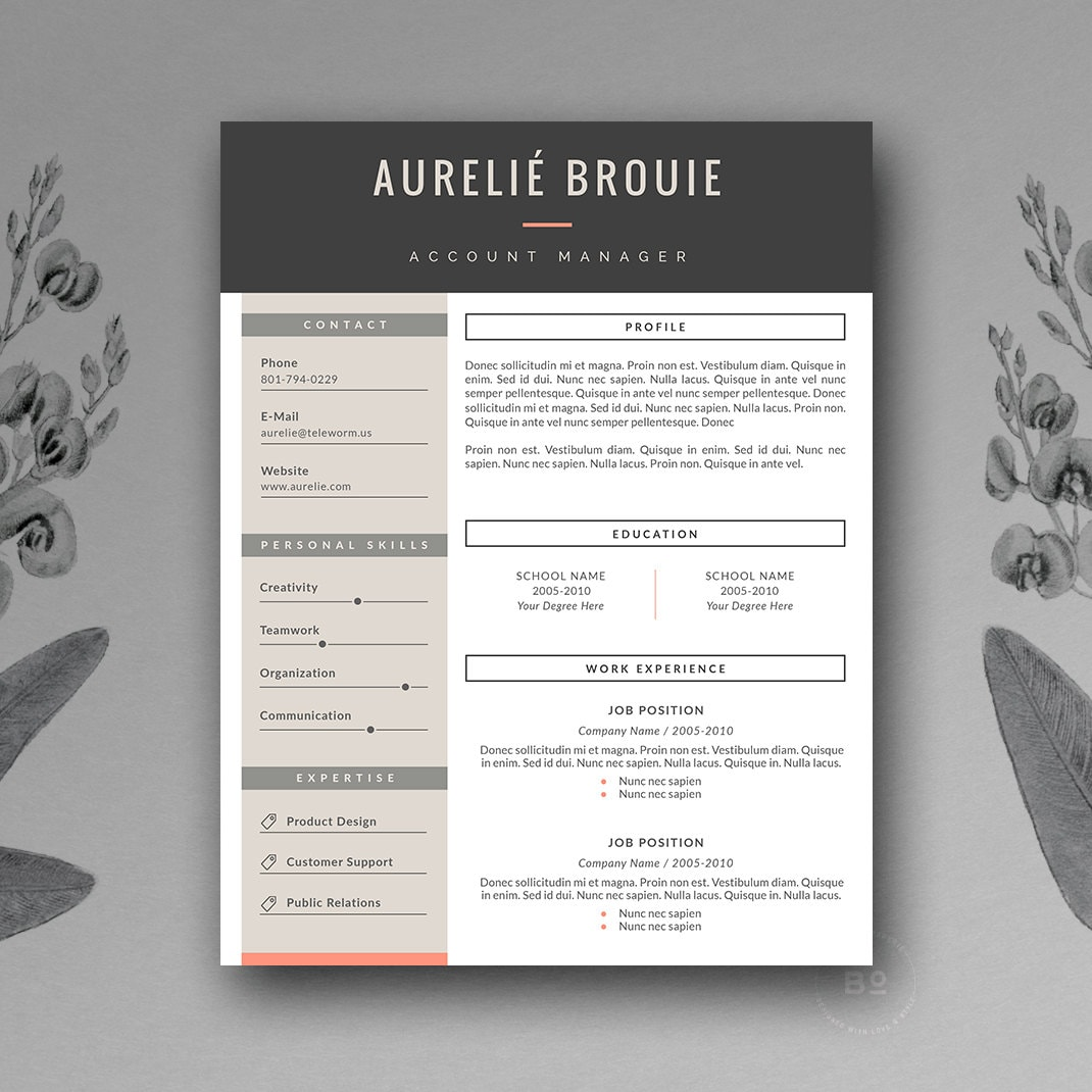 resume template resume design cover letter template cv