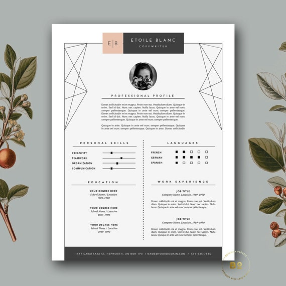 modern resume template cover letter template for word and etsy