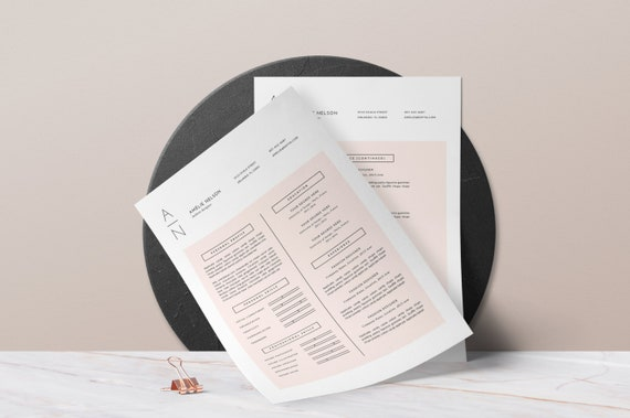 Resume Template . Creative Resume + Cover Letter 4 MS Word + Pages . Modern  and Clean Resume Design . Blush Pink . Instant Download • Amélie