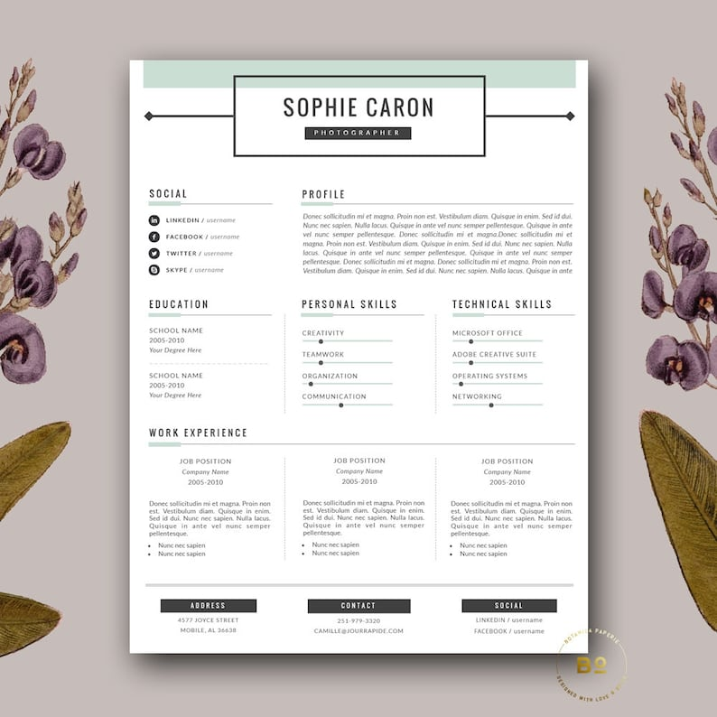 Resume Template   2 Page Resume and FREE Cover Letter for Word   Creative  Resume Writing   Customizable CV Template   Instant Download