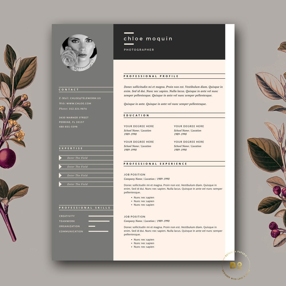 resume template and cover letter for word  u0026 pages 3 page