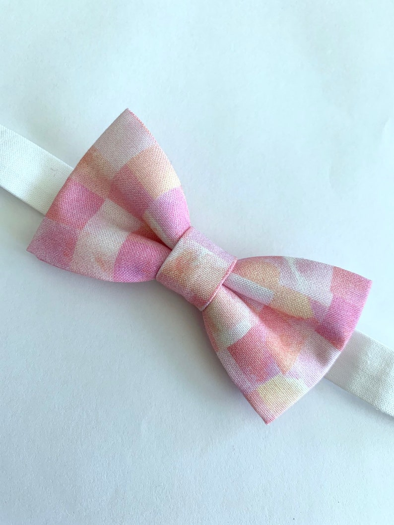 Pink and orange mosaic bowtie Light pink bow tie. Pink and orange square bow tie