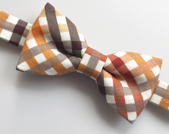 Fall check bow tie. Autumn squares bow tie. Fall colors bow tie. Check bow tie