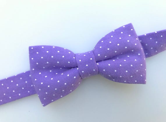 9c53255c2341 Light purple with white mini dots bow tie. Polka dots bow tie. | Etsy