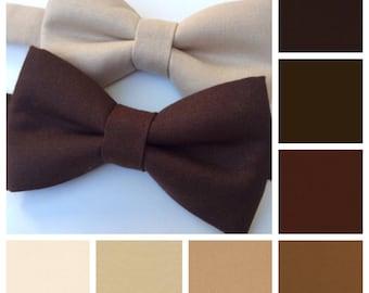 Brown bow tie. Ivory bow tie. Cream bow tie. Khaki bow tie