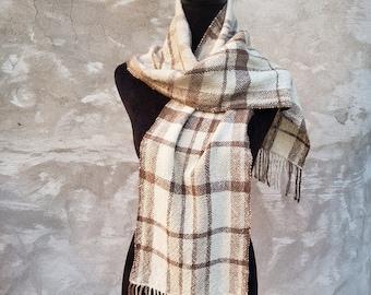 Handwoven Cashmere plaid scarf