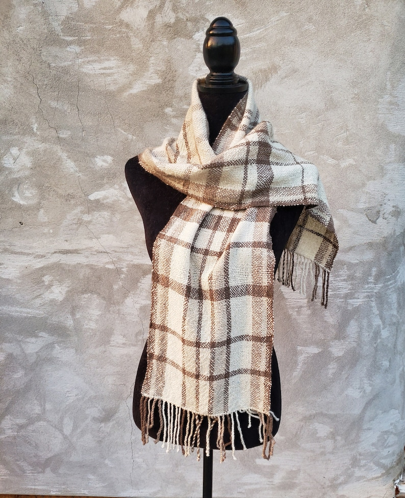 Handwoven Cashmere plaid scarf image 0