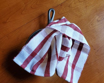 Handwoven dark red and white tea towel