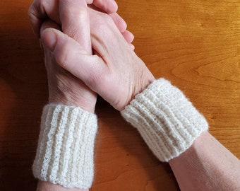 Natural Cashmere Crocheted wrist warmers, wristies