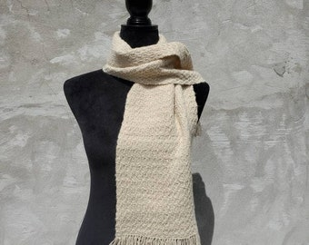 Handwoven with handspun Cashmere/Silk scarf