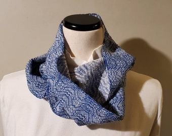 Handwoven Cotton Infinity Scarf blue and white