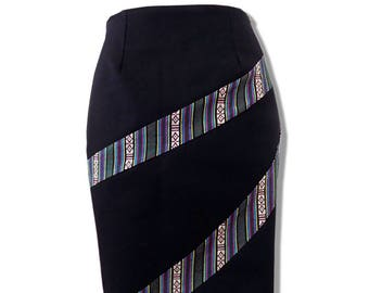Handmade Black Twill Pencil Skirt With Guatemalan Textile Detail, Size M