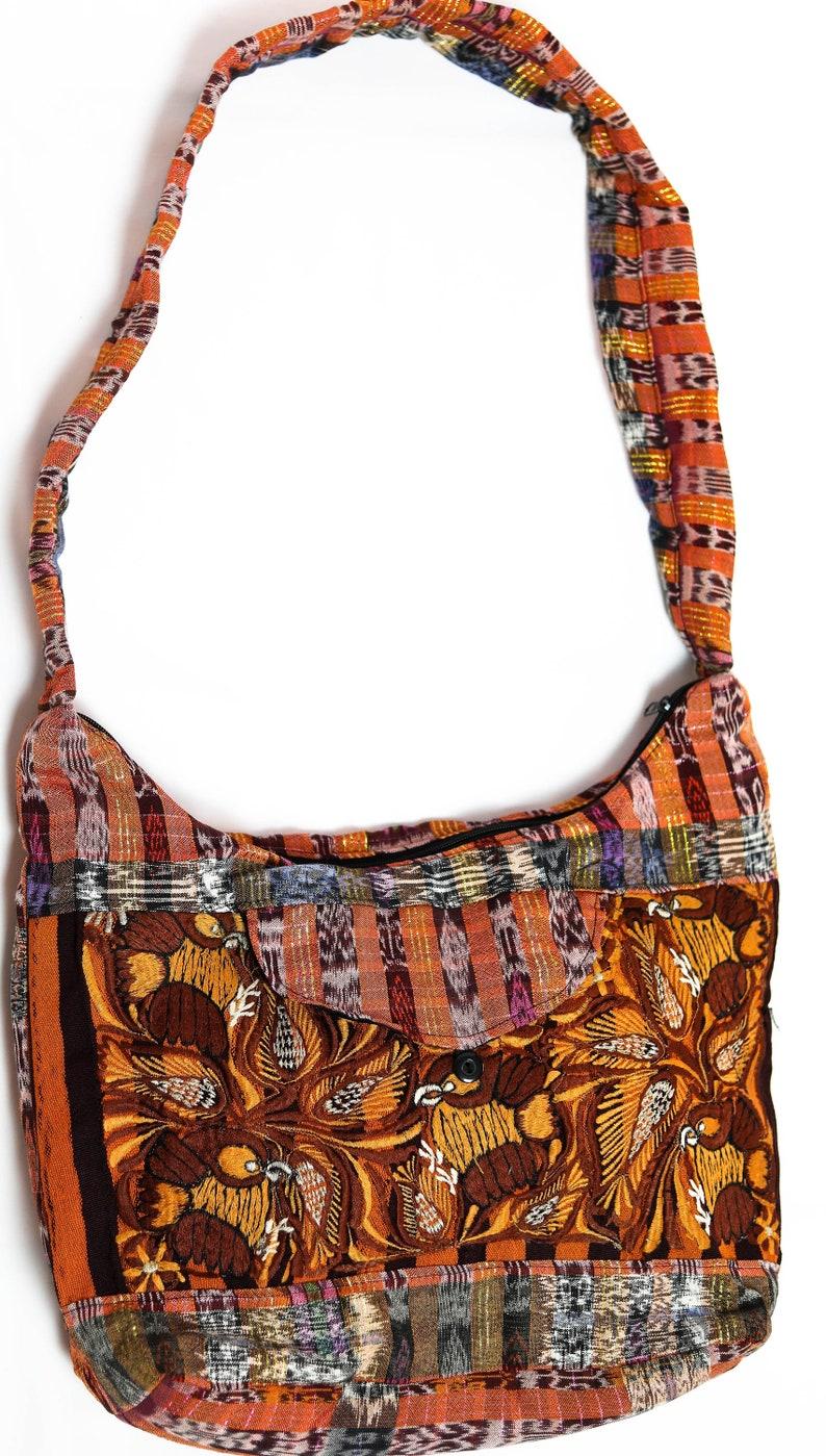 Guatemalan Handmade Floral Embroidery Large Hobo Bag