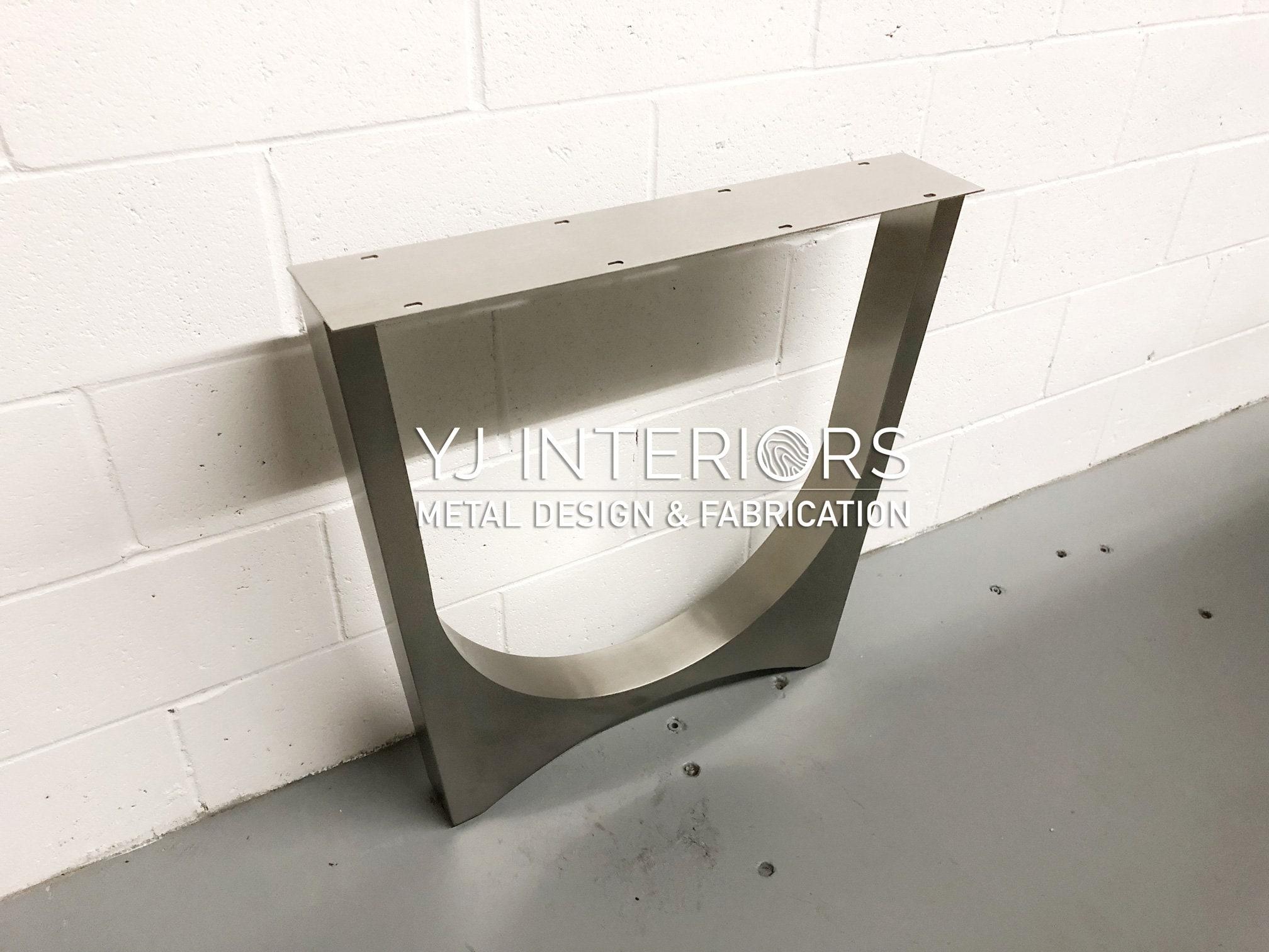 """Le tunnel trapézoïde 2.0 Jambes en métal en acier inoxydable brossé 27,5 """" H SET(2), Live Edge River Table, Dining Table Legs, Marbre, Granit"""