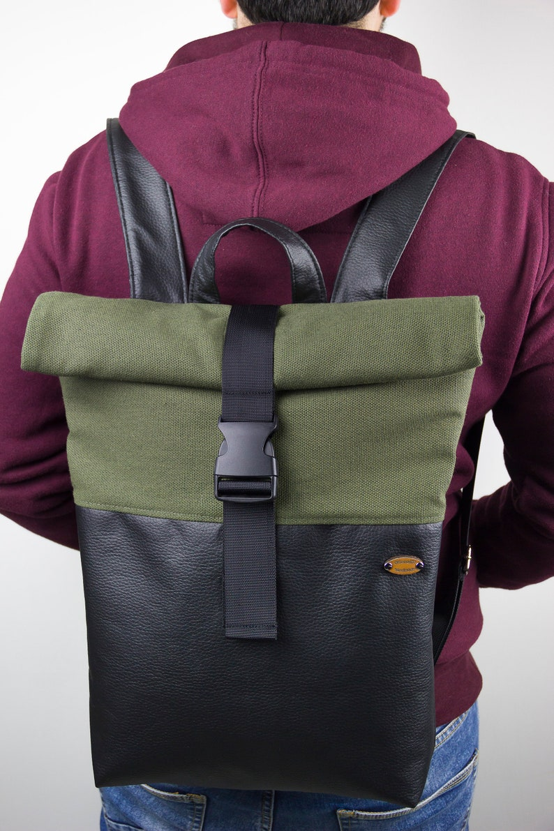 Faux leather rolltop backpack and PRE-ORDER fabric