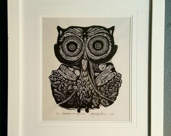 ORIGINAL OWL LINOCUT - linoleum blockprint - handprinted