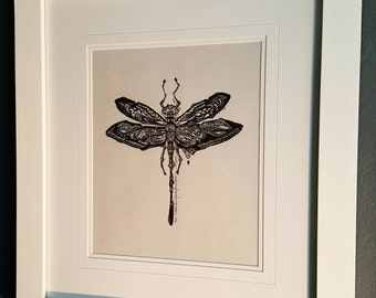 ORIGINAL DRAGONFLY LINOCUT - linoleum blockprint - handprinted