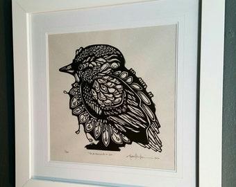 ORIGINAL BIRD LINOCUT - linoleum blockprint - handprinted