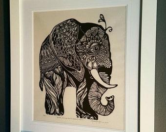 ORIGINAL ELEPHANT LINOCUT - linoleum blockprint - handprinted