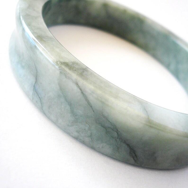 Dark Veined and Light Green Square Cut Concave Jade Bangle Bracelet